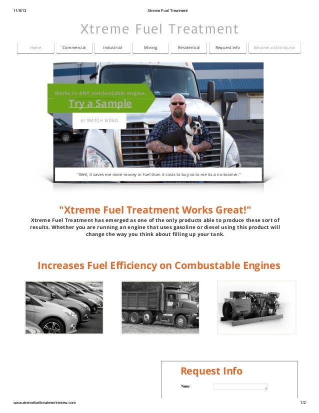 11/6/13 Xtreme Fuel Treatment Xtreme Fuel Treatment Home Commercial Industrial Mining Residential Request Info Bec...