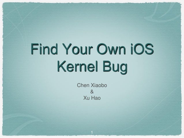 1 Find Your Own iOS Kernel Bug Chen Xiaobo & Xu Hao