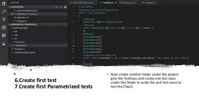 X unit testing framework with c# and vs code