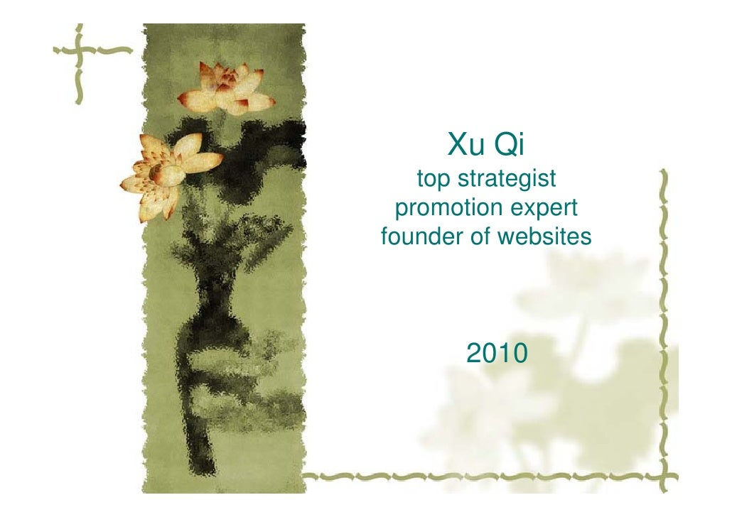 Xu Qi     top strategist   promotion expert founder of websites           2010