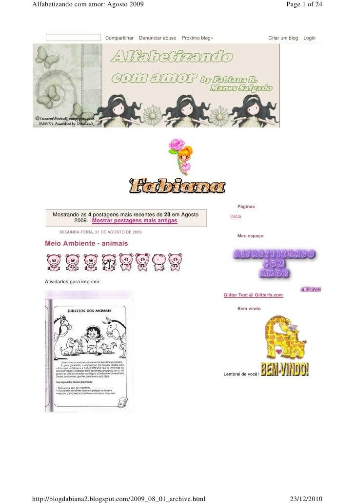 Alfabetizando com amor: Agosto 2009                                                                             Page 1 of ...