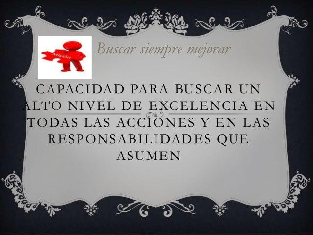 Buscar siempre mejorar CAPACIDAD PARA BUSCAR UNALTO NIVEL DE EXCELENCIA ENTODAS LAS ACCIONES Y EN LAS   RESPONSABILIDADES ...