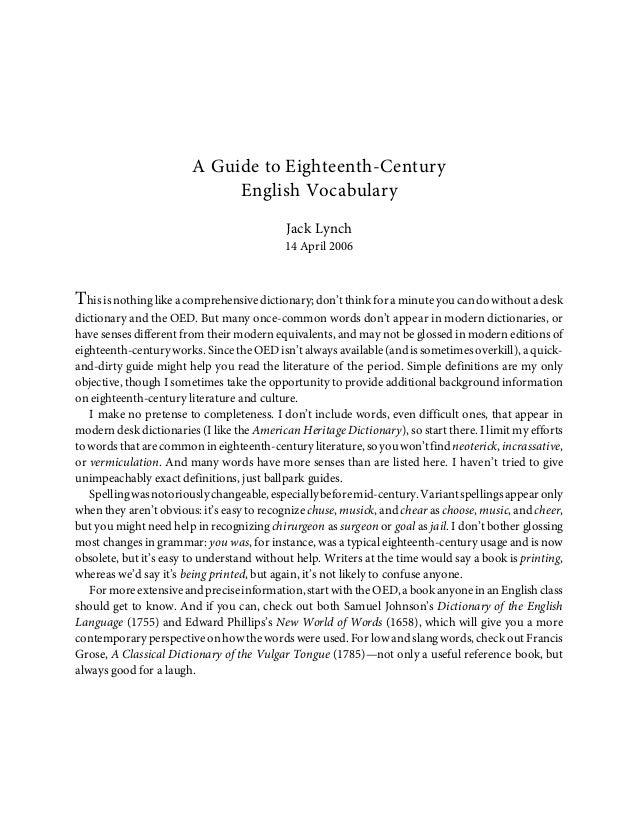 A Guide to Eighteenth-Century                             English Vocabulary                                            Ja...
