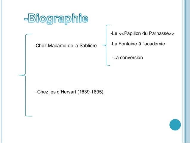 -Chez Madame de la Sablière -Le <<Papillon du Parnasse>> -La Fontaine â l'académie -La conversion -Chez les d'Hervart (163...