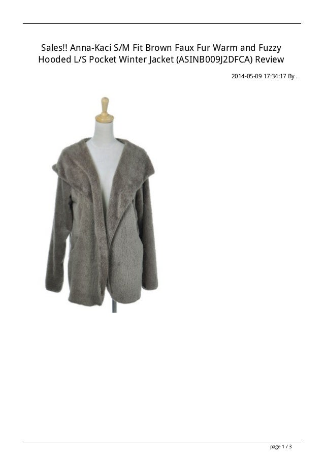 Sales!! Anna-Kaci S/M Fit Brown Faux Fur Warm and Fuzzy Hooded L/S Pocket Winter Jacket (ASINB009J2DFCA) Review 2014-05-09...