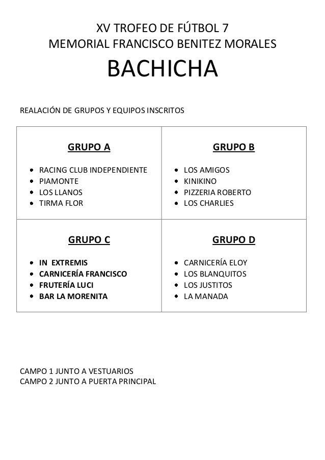 XV TROFEO DE FÚTBOL 7 MEMORIAL FRANCISCO BENITEZ MORALES BACHICHA REALACIÓN DE GRUPOS Y EQUIPOS INSCRITOS GRUPO A RACING C...