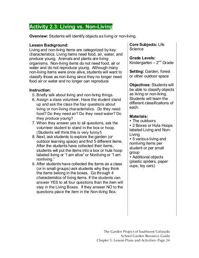 Colorado School Garden Lesson Plan B3 Living Vs Non Living