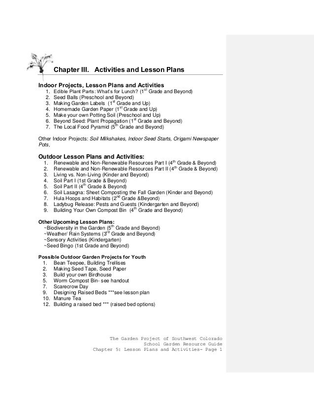 The Garden Project Of Southwest Colorado School Garden Resource Guide  Chapter 5: Lesson Plans And ...