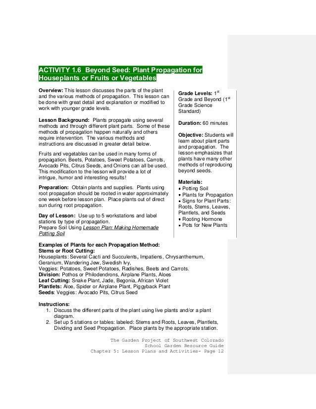 Colorado school gardening guide chapter 3 activities and for Colorado plan