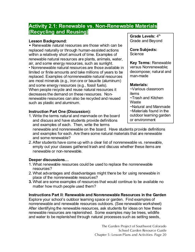 colorado school garden lesson plan b renewable vs non renewable re  non renewable materials recycling and reusing lesson