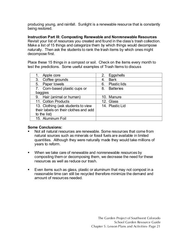 Colorado School Garden Lesson Plan b1 Renewable vs NonRenewable Re – Renewable and Nonrenewable Resources Worksheets