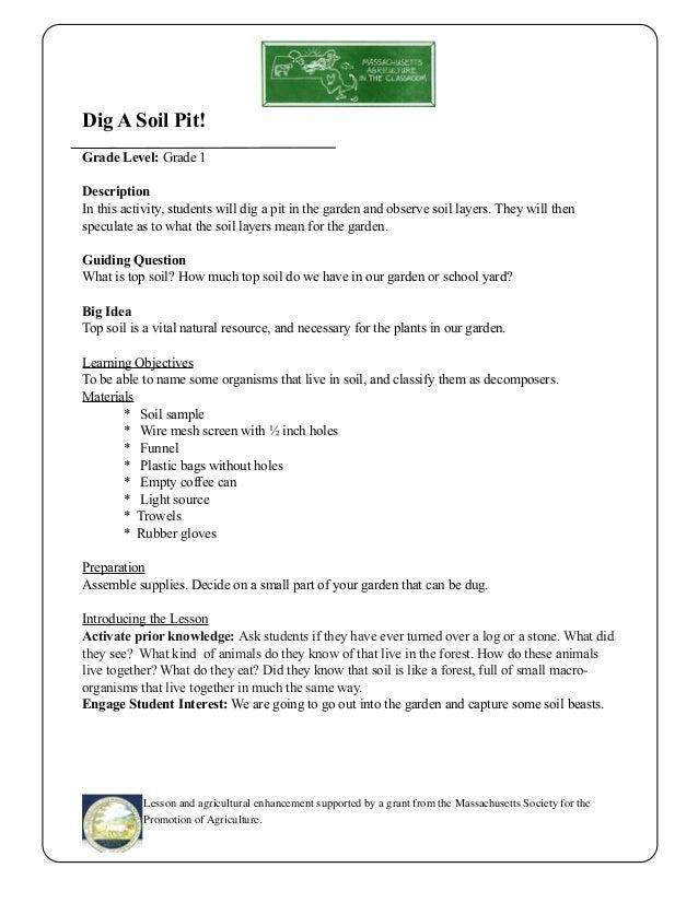 Grade 1 School Garden Lesson Plan - Soil Lesson; Dig A Soil Pit ~ Mas…