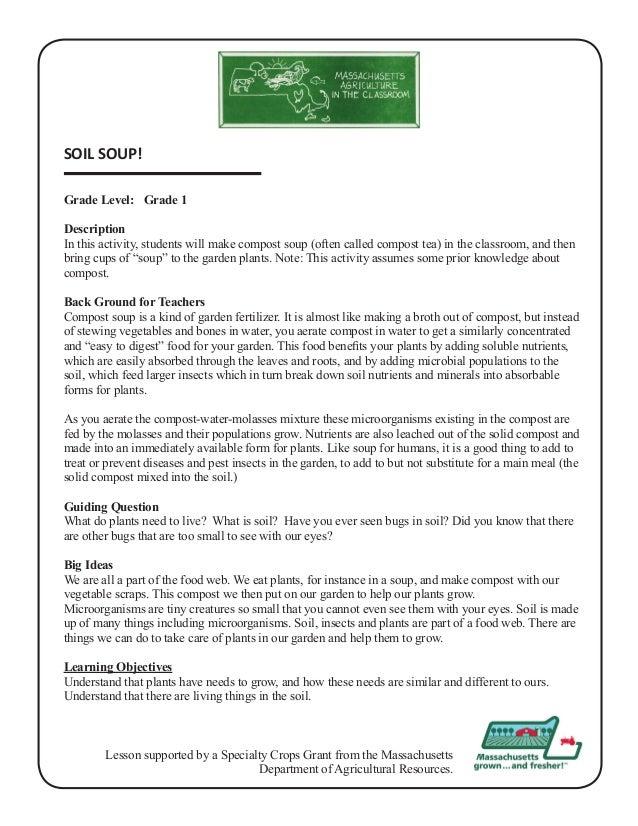Grade 1 school garden lesson plan soil lesson soil soup for Uses of soil in english