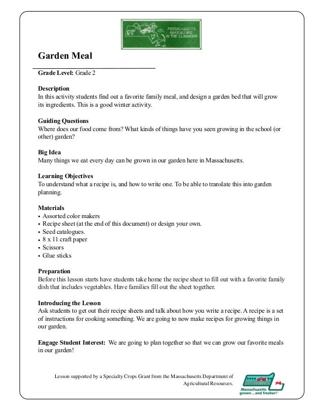 Garden Meal Grade Level: Grade 2 Description In This Activity Students Find  Out A Favorite ...