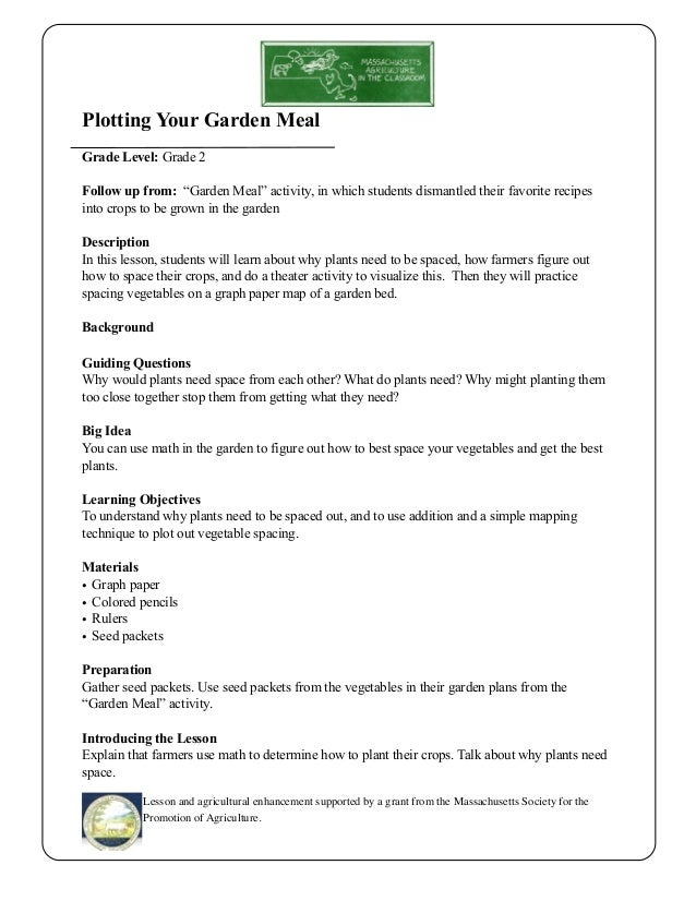 Grade 2 School Garden Lesson Plan Plotting Your Garden Meal Massa – Gardening Lesson Plans