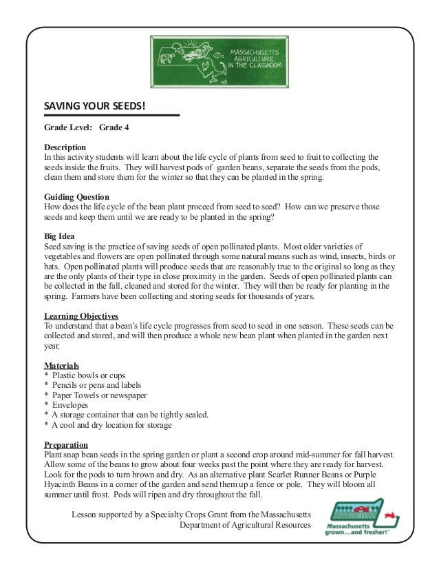 Grade 4 School Garden Lesson Plan - Seeds Lesson