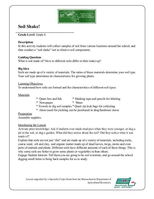 grade 4 school garden lesson plan soil shake lesson massachusetts