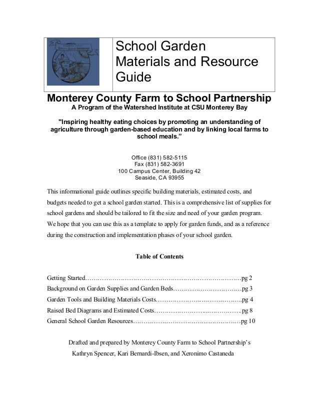 Captivating School Garden Materials And Resource Guide Monterey County Farm To School  Partnership A Program Of The ...
