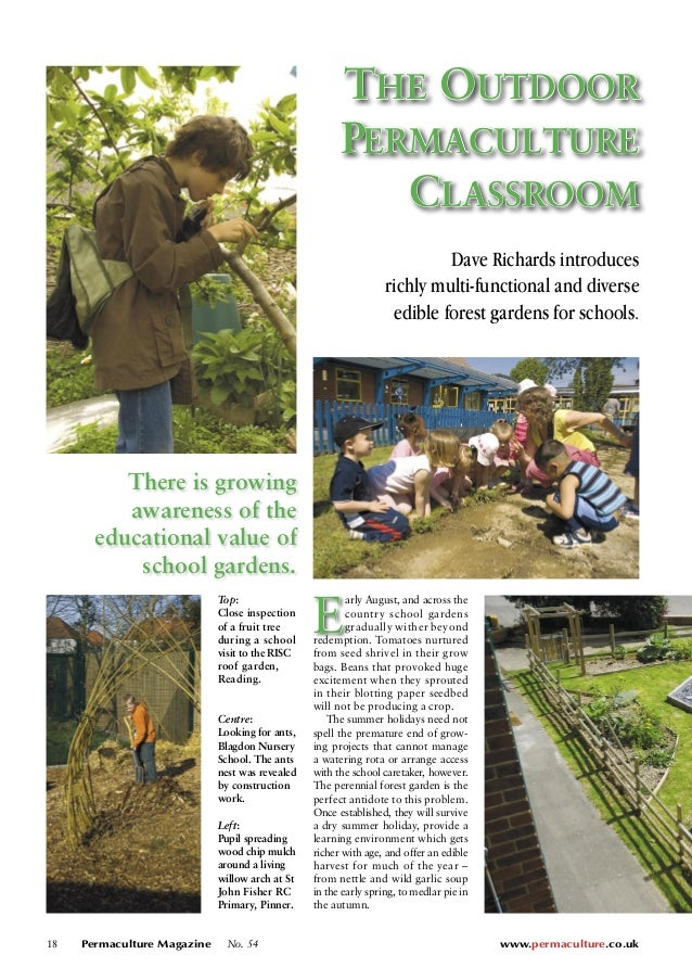 18 Permaculture Magazine No. 54 www.permaculture.co.uk THE OUTDOOR  PERMACULTURE  CLASSROOM  Dave Richards introduces  ric...