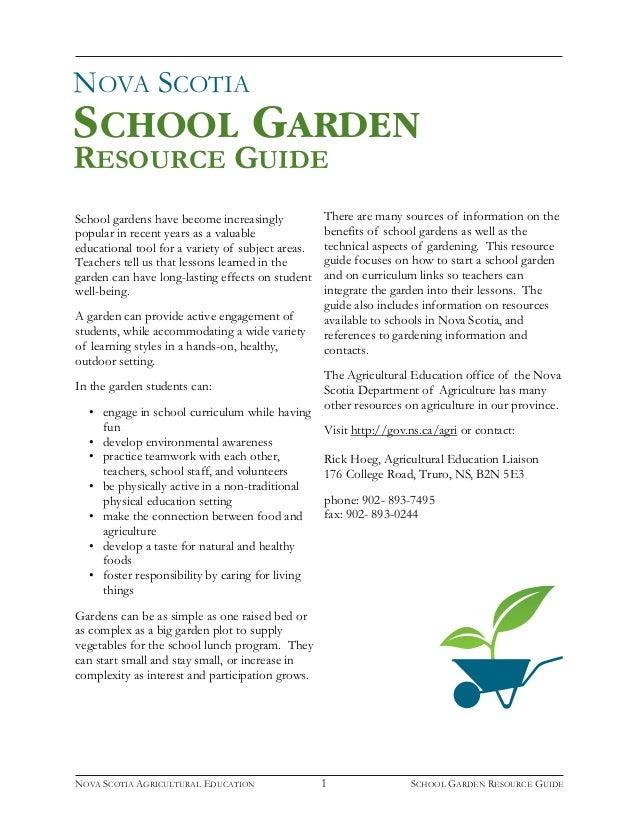 NOVA SCOTIA RESOURCE GUIDE SCHOOL GARDEN; 2.