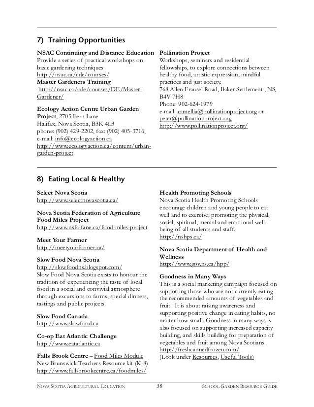 Nova Scotia Resource Guide School Gardening