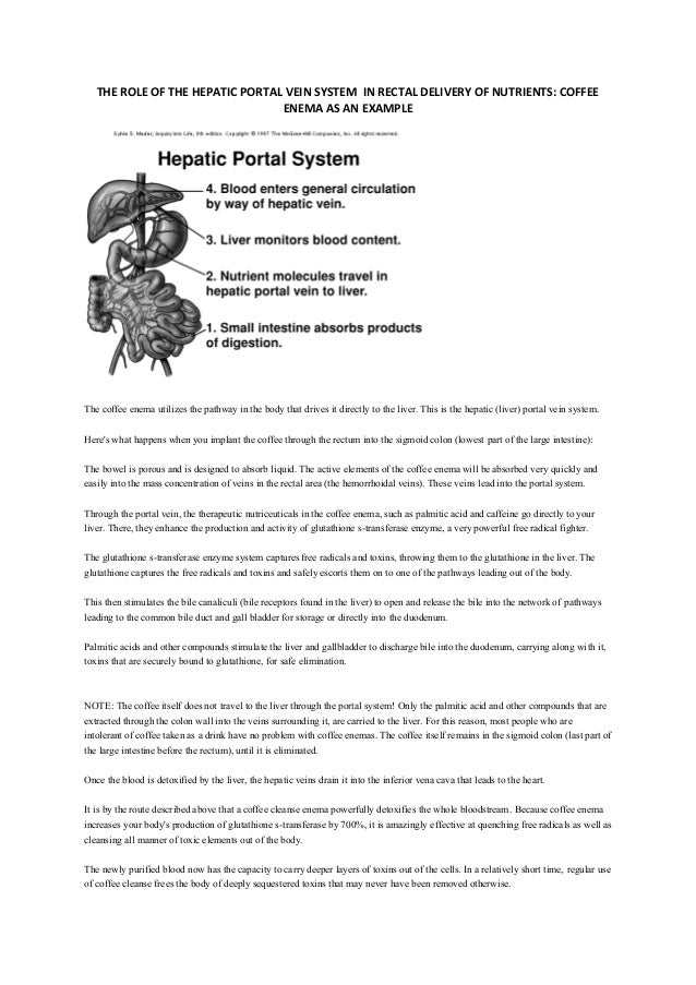 Coffee Enema The Role Of The Hepatic Portal Vein