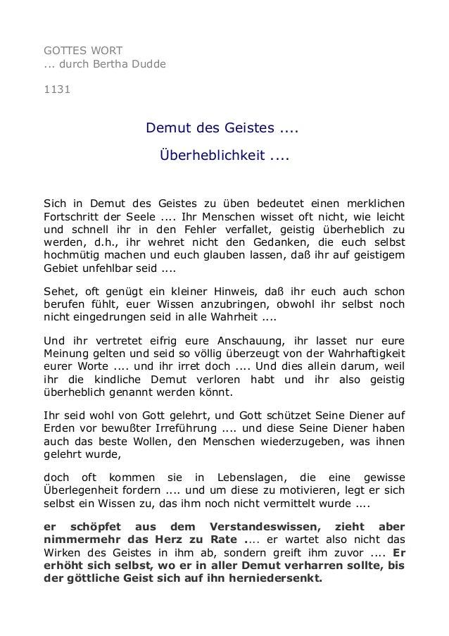 GOTTES WORT ... durch Bertha Dudde 1131 Demut des Geistes .... Überheblichkeit .... Sich in Demut des Geistes zu üben bede...
