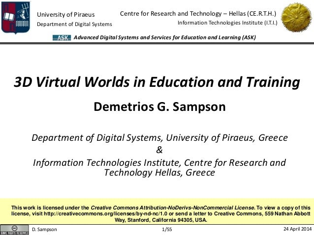 D. Sampson 24 April 2014 University of Piraeus Department of Digital Systems Centre for Research and Technology – Hellas (...