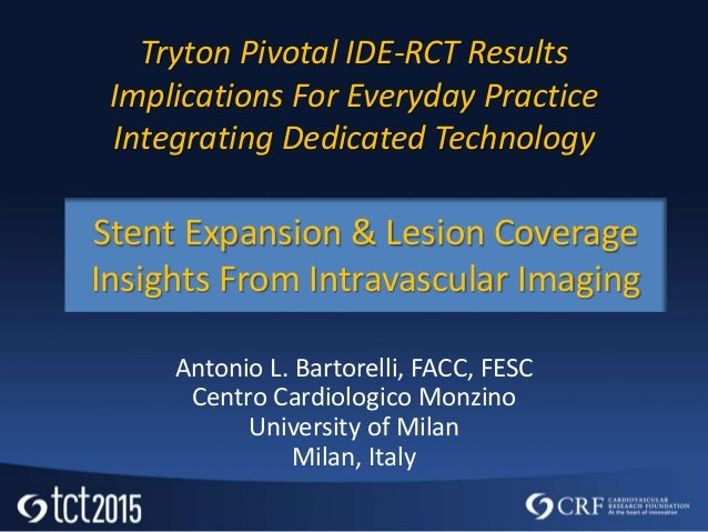 Tryton Pivotal IDE-RCT Results Implications For Everyday Practice Integrating Dedicated Technology Antonio L. Bartorelli, ...