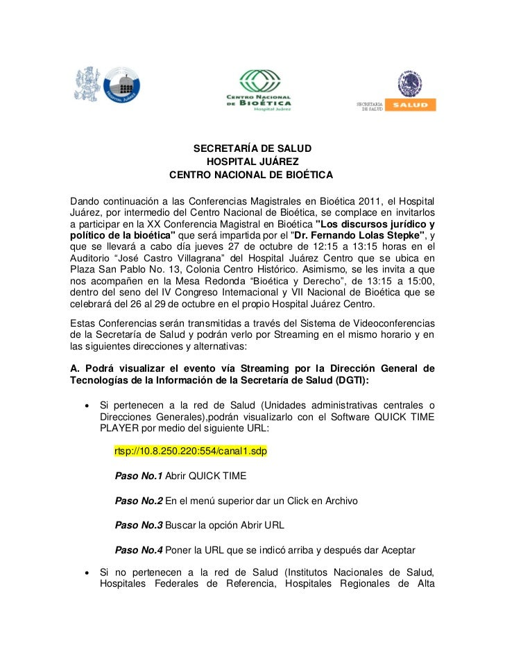 SECRETARÍA DE SALUD                            HOSPITAL JUÁREZ                      CENTRO NACIONAL DE BIOÉTICADando conti...