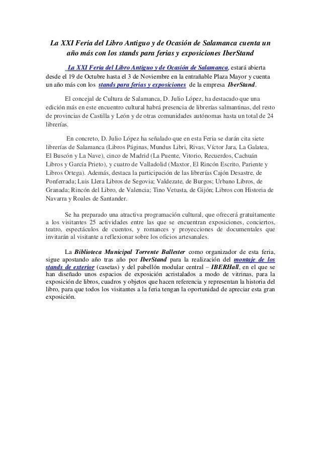 La XXI Feria del Libro Antiguo y de Ocasión de Salamanca cuenta un año más con los stands para ferias y exposiciones IberS...
