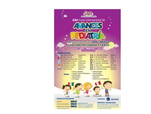XXII Curso Internacional de Avances en Pediatría  insn 07 al 09 de marzo 2013