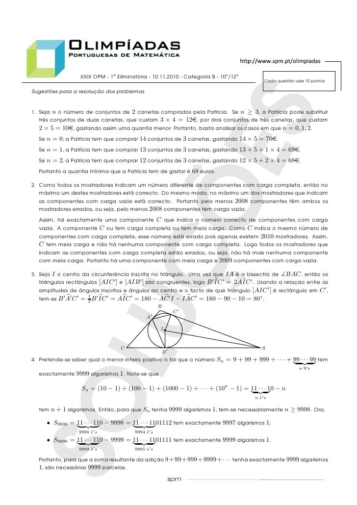 XXIX OPM - 1a Eliminatoria - 10.11.2010 - Categoria B - 10o /12o                                          ´               ...