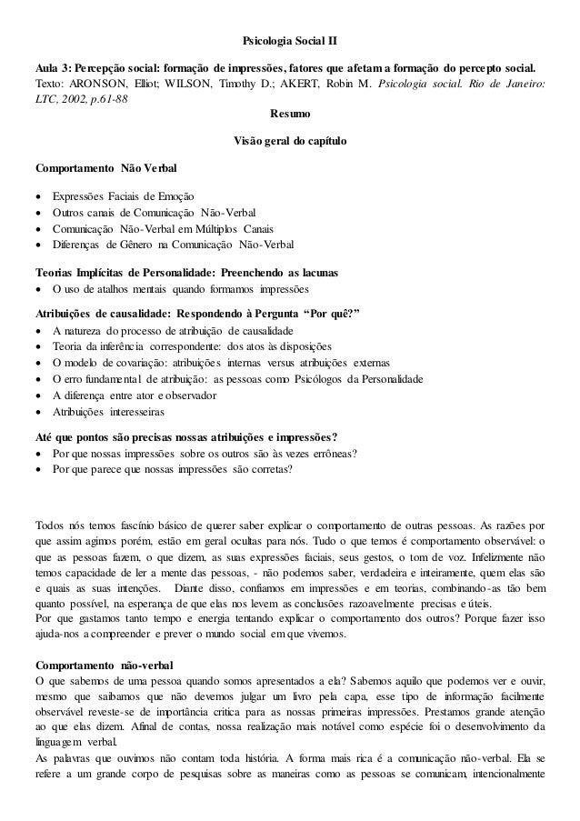 Psicologia Social II Aula 3: Percepção social: formação de impressões, fatores que afetam a formação do percepto social. T...