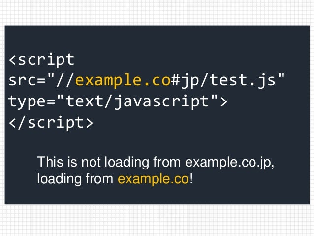 """<script src=""""//example.co#jp/test.js"""" type=""""text/javascript""""> </script> This is not loading from example.co.jp, loading fr..."""
