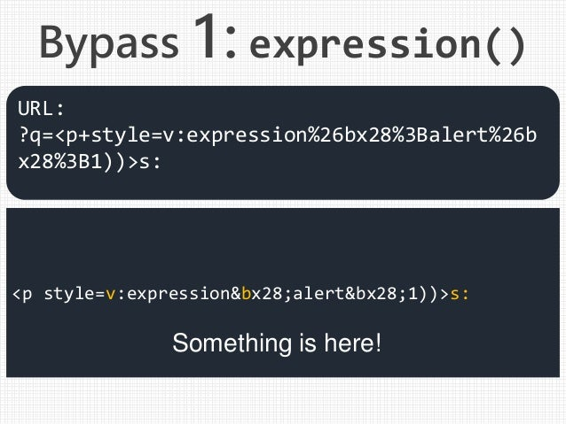 <p style=v:expression&bx28;alert&bx28;1))>s: Something is here! URL: ?q=<p+style=v:expression%26bx28%3Balert%26b x28%3B1))...