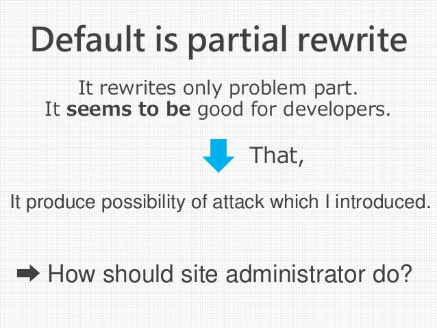 Default is partial rewrite It rewrites only problem part. It seems to be good for developers. That, ➡ How should site admi...