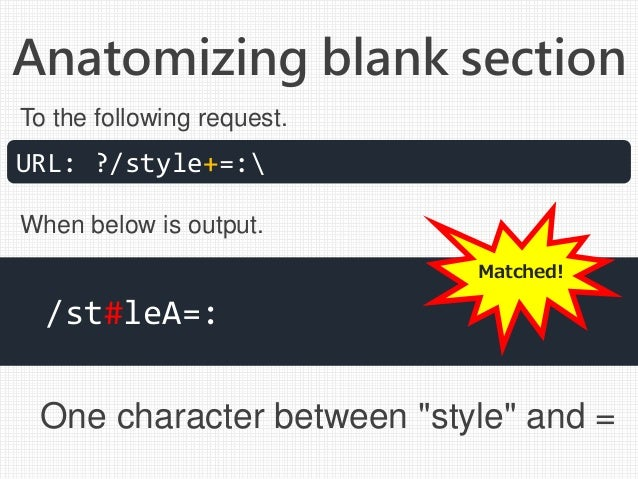 """Anatomizing blank section One character between """"style"""" and = URL: ?/style+=: /st#leA=: To the following request. When bel..."""