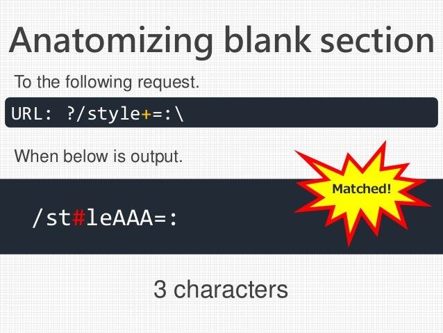 Anatomizing blank section 3 characters URL: ?/style+=: /st#leAAA=: To the following request. When below is output. Matched!
