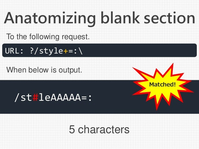 Anatomizing blank section 5 characters URL: ?/style+=: /st#leAAAAA=: To the following request. When below is output. Match...
