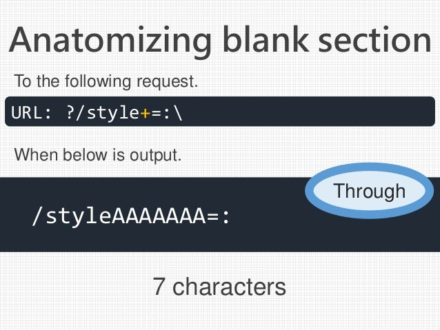 Anatomizing blank section 7 characters URL: ?/style+=: /styleAAAAAAA=: To the following request. When below is output. Thr...