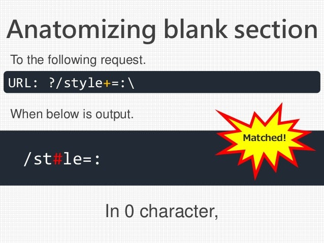 Anatomizing blank section In 0 character, URL: ?/style+=: /st#le=: To the following request. When below is output. Matched!