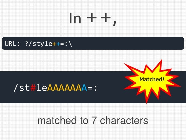 In ++, URL: ?/style++=: /st#leAAAAAAA=: matched to 7 characters Matched!