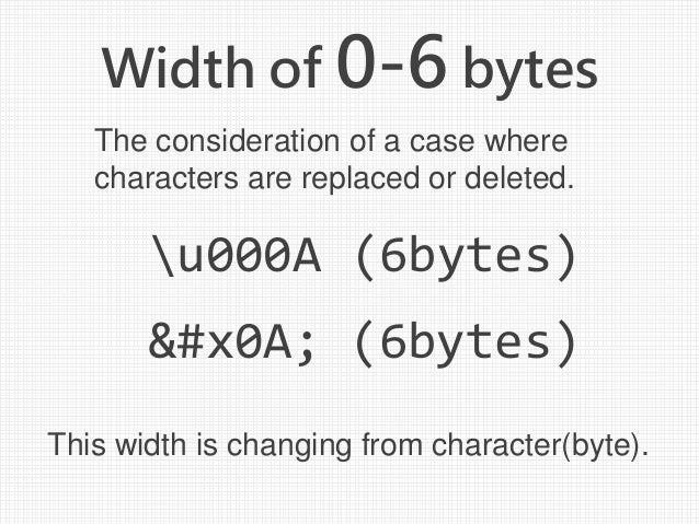 Width of 0-6 bytes u000A (6bytes)   (6bytes) The consideration of a case where characters are replaced or deleted. This wi...