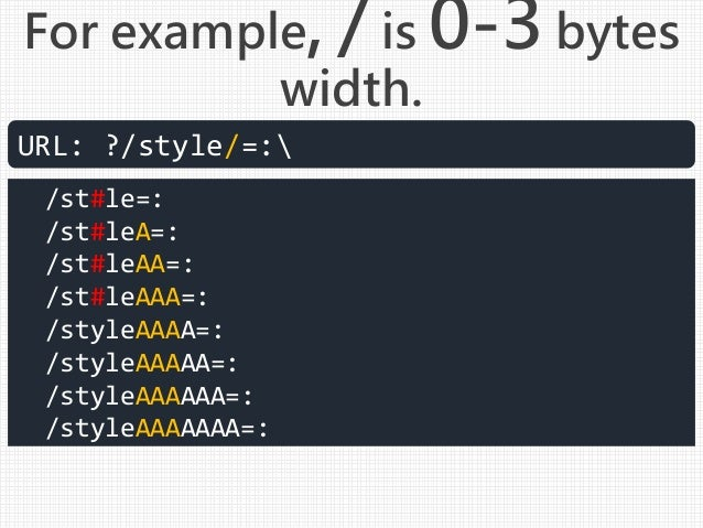 For example, / is 0-3 bytes width. URL: ?/style/=: /st#le=: /st#leA=: /st#leAA=: /st#leAAA=: /styleAAAA=: /styleAAAAA=: /s...