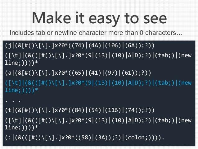 Make it easy to see (j (&[#()[].]x?0*((74) (4A) (106) (6A));?)) ([t] (&(([#()[].]x?0*(9 (13) (10) A D);?) (tab;) (new line...
