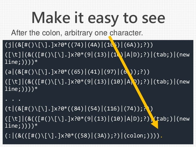 (j (&[#()[].]x?0*((74) (4A) (106) (6A));?)) ([t] (&(([#()[].]x?0*(9 (13) (10) A D);?) (tab;) (new line;))))* (a (&[#()[].]...