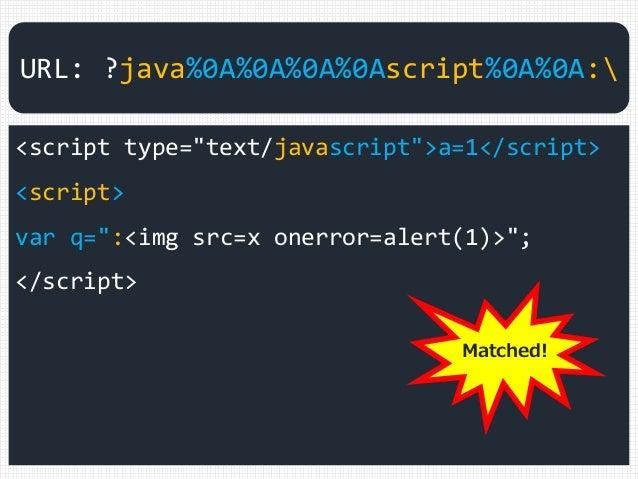 """<script type=""""text/javascript"""">a=1</script> <script> var q="""":<img src=x onerror=alert(1)>""""; </script> URL: ?java%0A%0A%0A%..."""