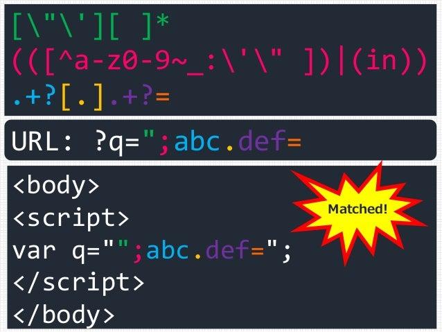 "[""'][ ]* (([^a-z0-9~_:'"" ]) (in)) .+?[.].+?= <body> <script> var q="""";abc.def=""; </script> </body> URL: ?q="";abc.def= Matc..."
