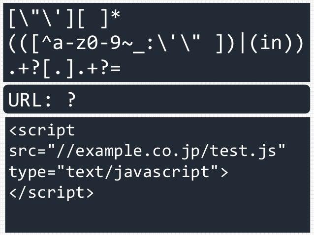 "[""'][ ]* (([^a-z0-9~_:'"" ]) (in)) .+?[.].+?= <script src=""//example.co.jp/test.js"" type=""text/javascript""> </script> URL: ?"
